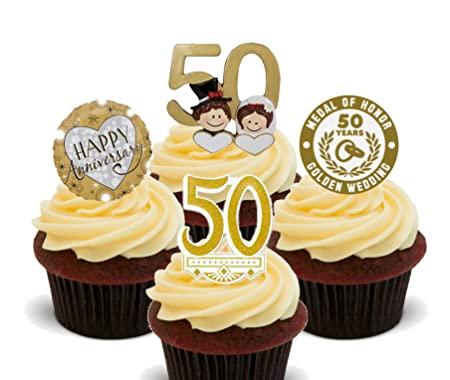 Gold Wedding 50th Anniversary Edible Cupcake Toppers Stand Up