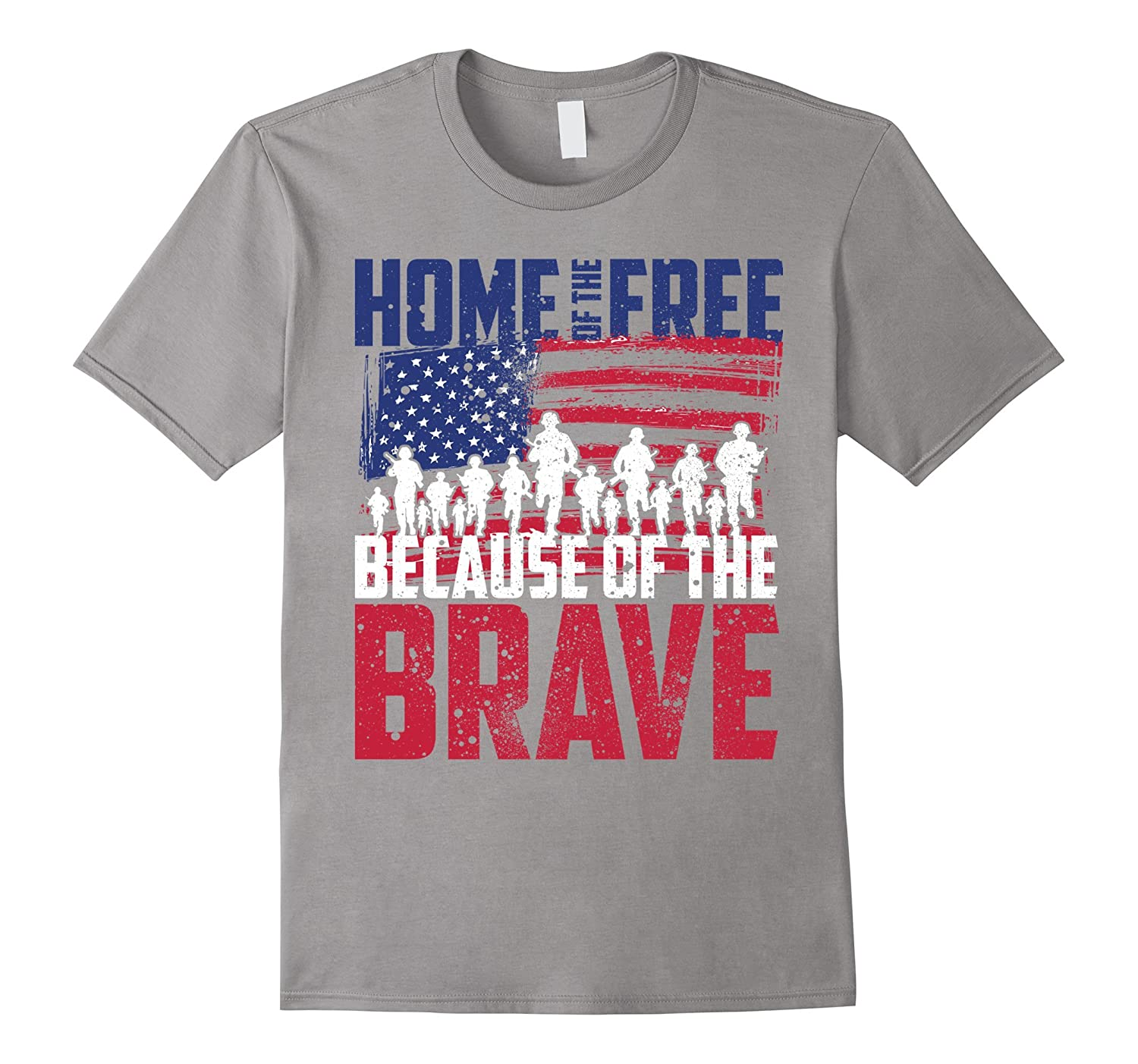 Home of the Free Because of the Brave Memorial Day T-Shirt-Vaci