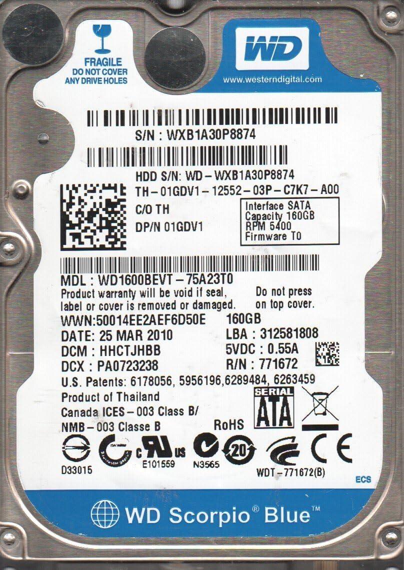 WD1600BEVT-75A23T0 DCM HHCTJHBB Western Digital 160GB SATA 2.5 Hard Drive