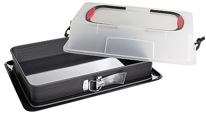 Zenker 6112 - Molde rectangular para tarta con base extraíble esmaltada y tapa para transportar