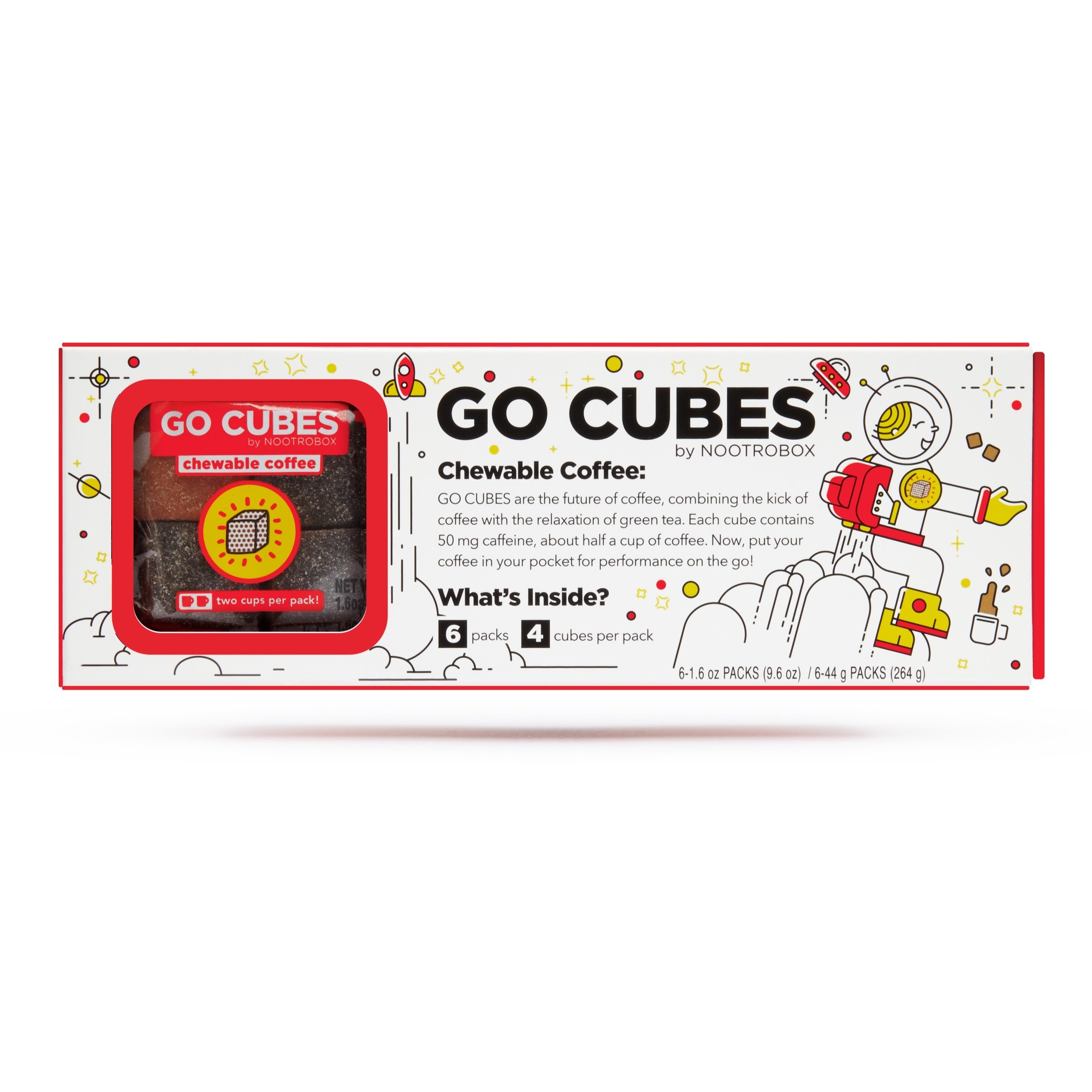GO CUBES Energy Chews, Assorted Coffee Flavors, 4Count energy chews (6 Pack)