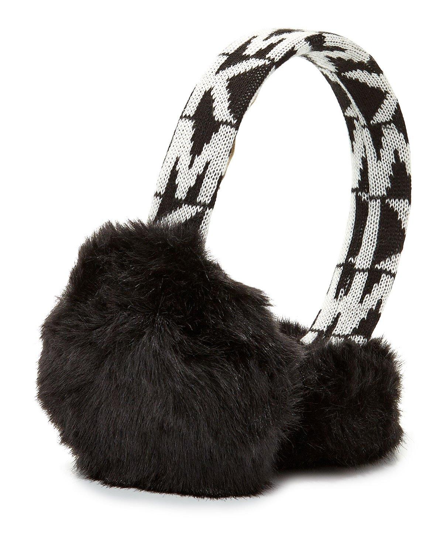 Michael Kors Women's Faux Fur Logo Earmuffs, Black/White