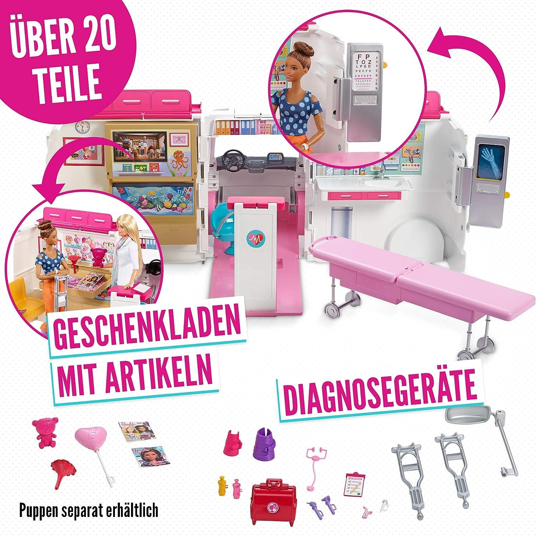 barbie frm19 2 in 1 krankenwagen aufklappbares fahrzeug mit licht und. Black Bedroom Furniture Sets. Home Design Ideas