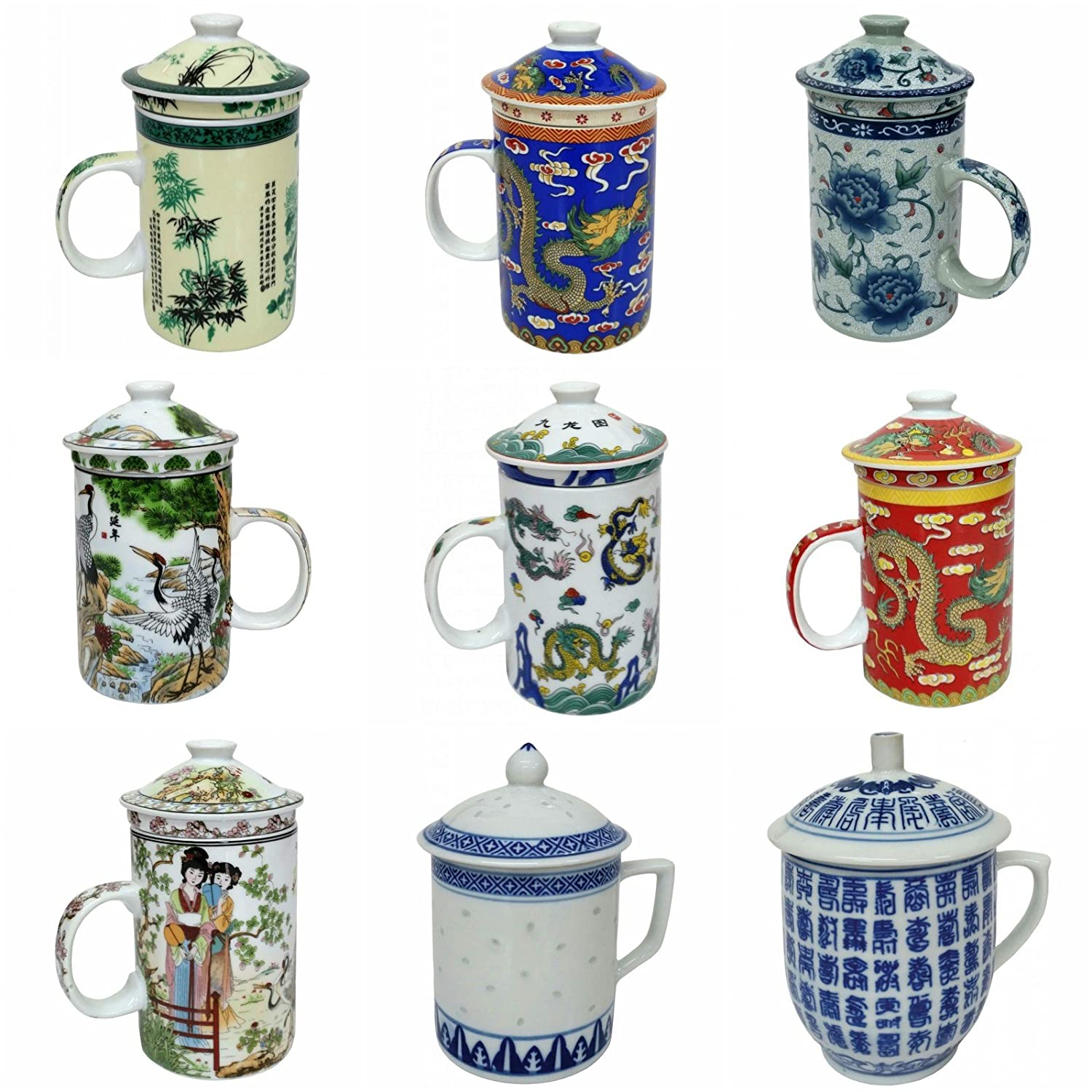 FSH253G Feng Shui Chinese Porcelain Mug Tea Cup with Lid Willow