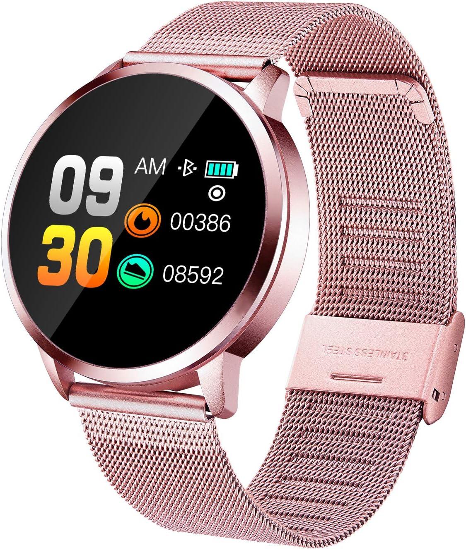 Reloj inteligente para hombres mujeres niños,Bluetooth Smart Watch IP67 podómetro monitor frecuencia cardíaca, recordatorio de llamadas,fitness smartwatch para iOS y Android (Rose Gold)