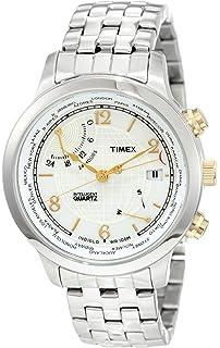 873b2f468e32 Timex Men s T2N613 Intelligent Quartz Traveller Series World Time Stainless  Steel Bracelet Watch