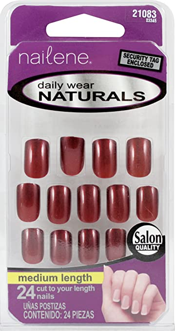 Amazon.com : Nailene Studio Nails ~ 24 Nails (21083 Dark Maroon) : Beauty