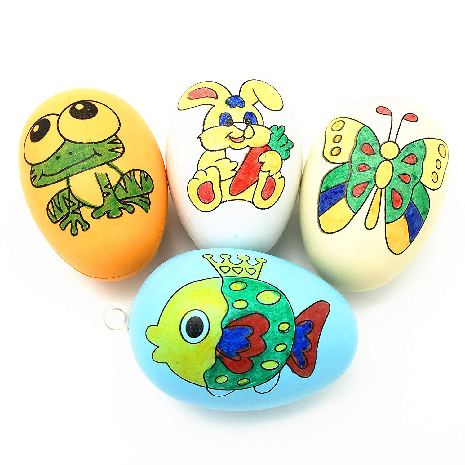 Kids Game Favors Colorful Easter Eggs Plastic Bulk Easter Hunt Decorative Easter Home Decor DIY Eggs Double Side Painting 20 Artificial Easter Egg with 4 Pens