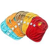 Bavoirs pour bébés à boutons-pression (lot de 10) par Kohars. 100 % coton absorbants réversibles unisexes bavoirs de dentition en plusieurs couleurs.