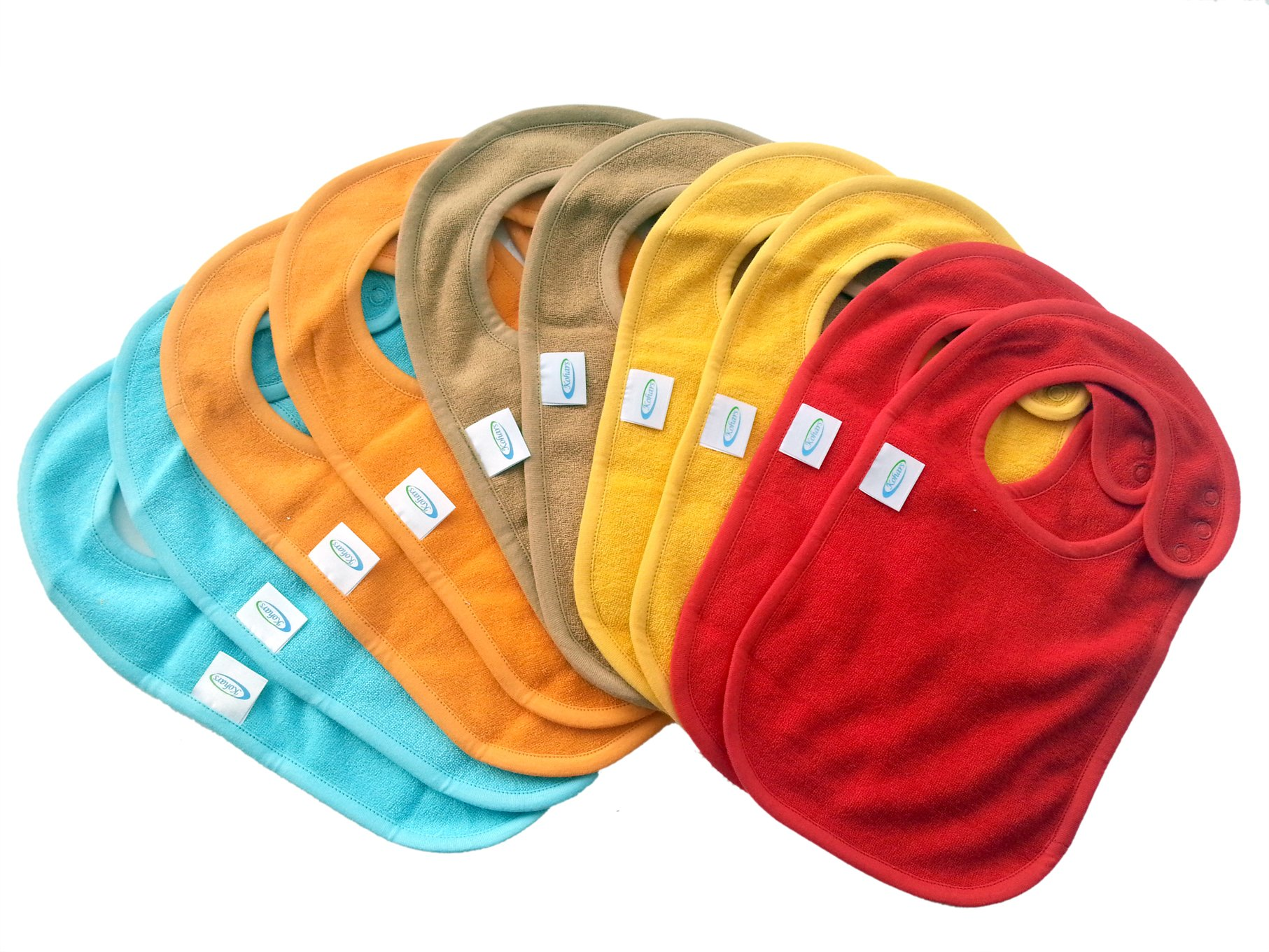 Baby Bibs with Snap Closures Solid Colors (10 Pack) by Kohars. 100% Cotton Absorbent Reversible Unisex Teething Dribble Bibs. Perfect for Newborn Infant Toddlers & Baby Shower and Gift Basket