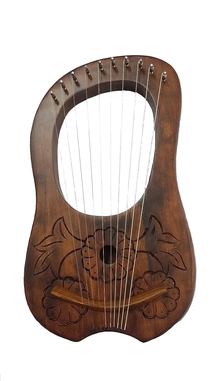 Nuevo Grabado Lira (Arpa palisandro 10metal cuerdas, incluye funda de transporte y clave/Lyra Arpa Shesham madera/Lyra Harfe Tartancity