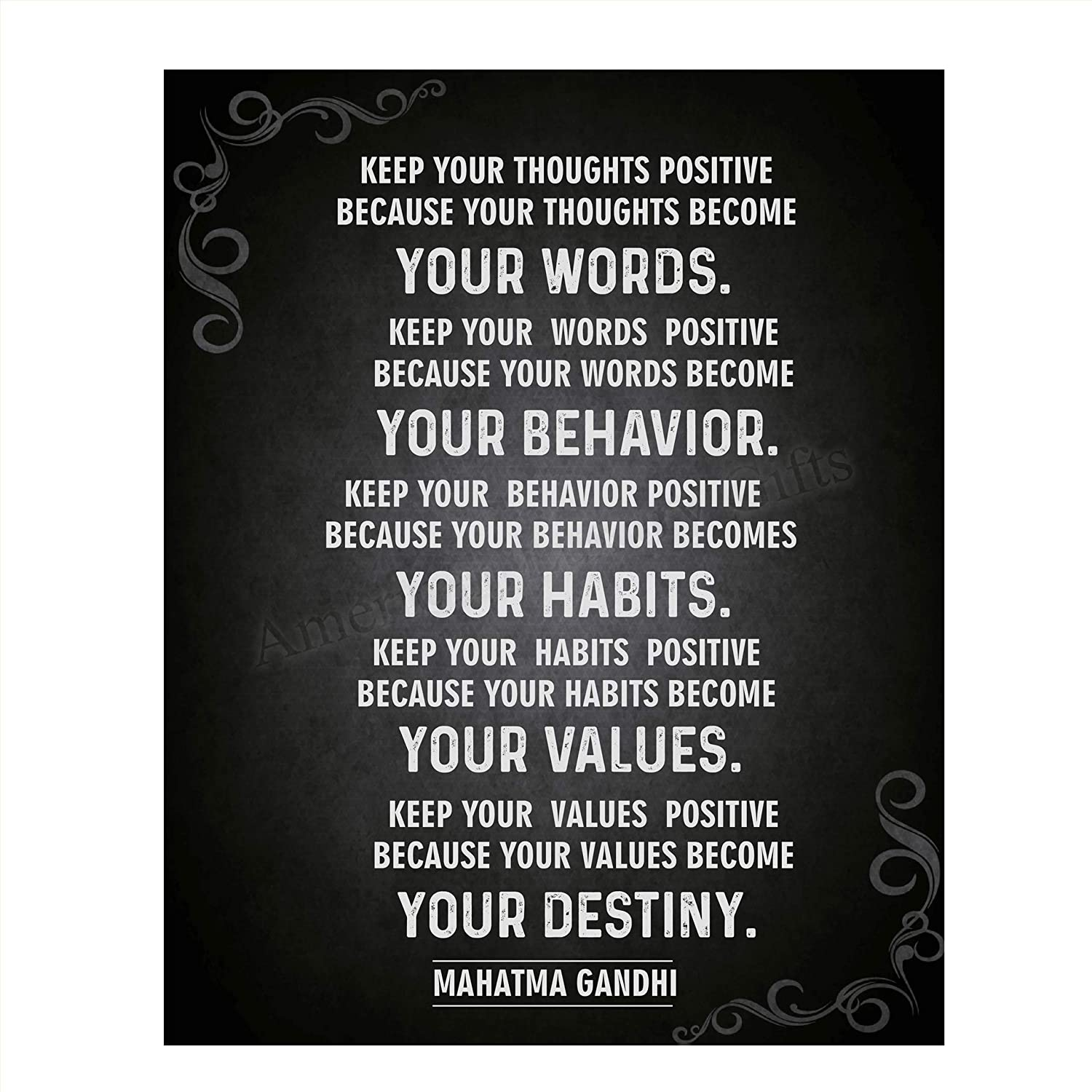 "GANDHI Quotes Wall Art- ""Your Destiny""- 8 x 10 Art Wall Print Art Ready to Frame. Modern Home Décor, Studio & Office Décor. Mahatma Gandhi Quotes Makes a Perfect Gift for Motivation, Zen & Inspiration"