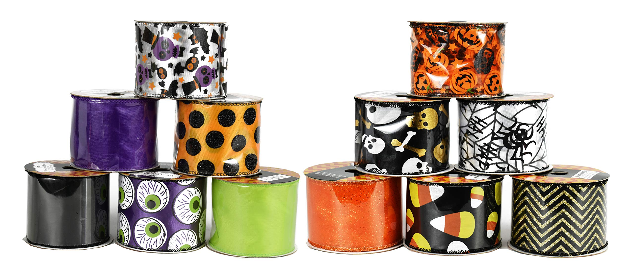 Set of 12 Halloween Wired Ribbon Rolls! 3 Yards of Ribbon Per Roll! Spooky Halloween Decorations Perfect for Classrooms, Schools, Parties and More! (Complete Set)
