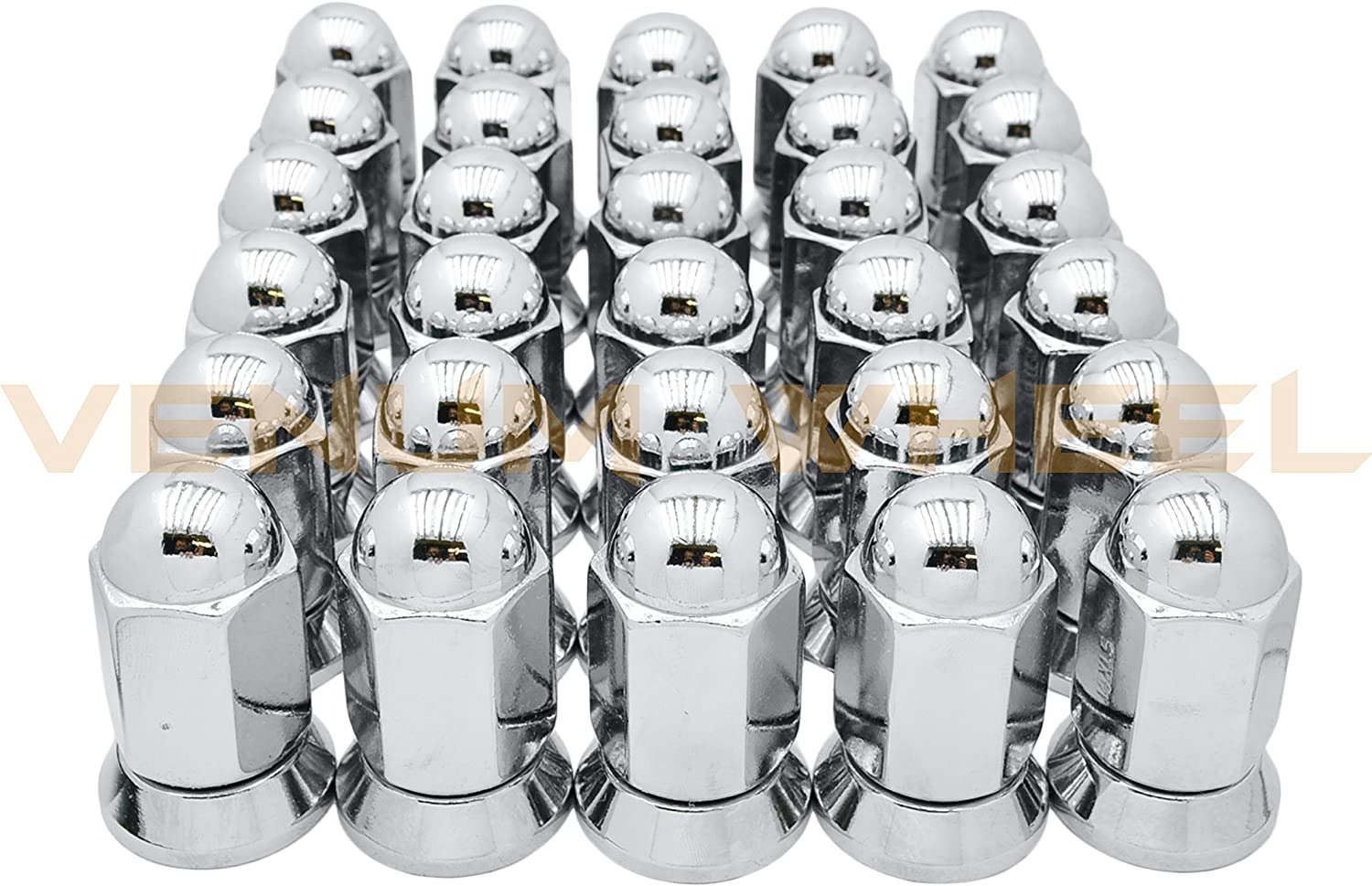 8 8 Pc Alcoa Style Chrome Lug Nuts For Duallys With Pressed In Washer Attached M14x1.5 Thread Fits Silverado Sierra 3500HD Ford F-350 Ram 3500