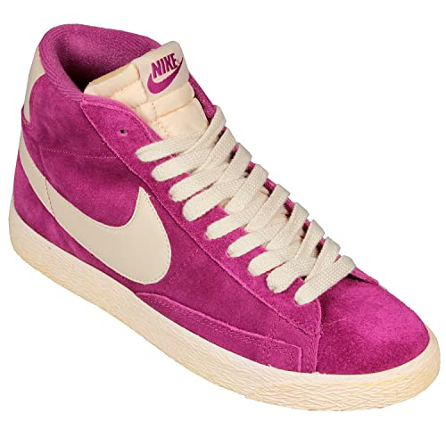 Nike Hi Top Trainers Shoes Womens Blazer Mid Suede Vintage Fuchsia Rave  Pink/Natural (