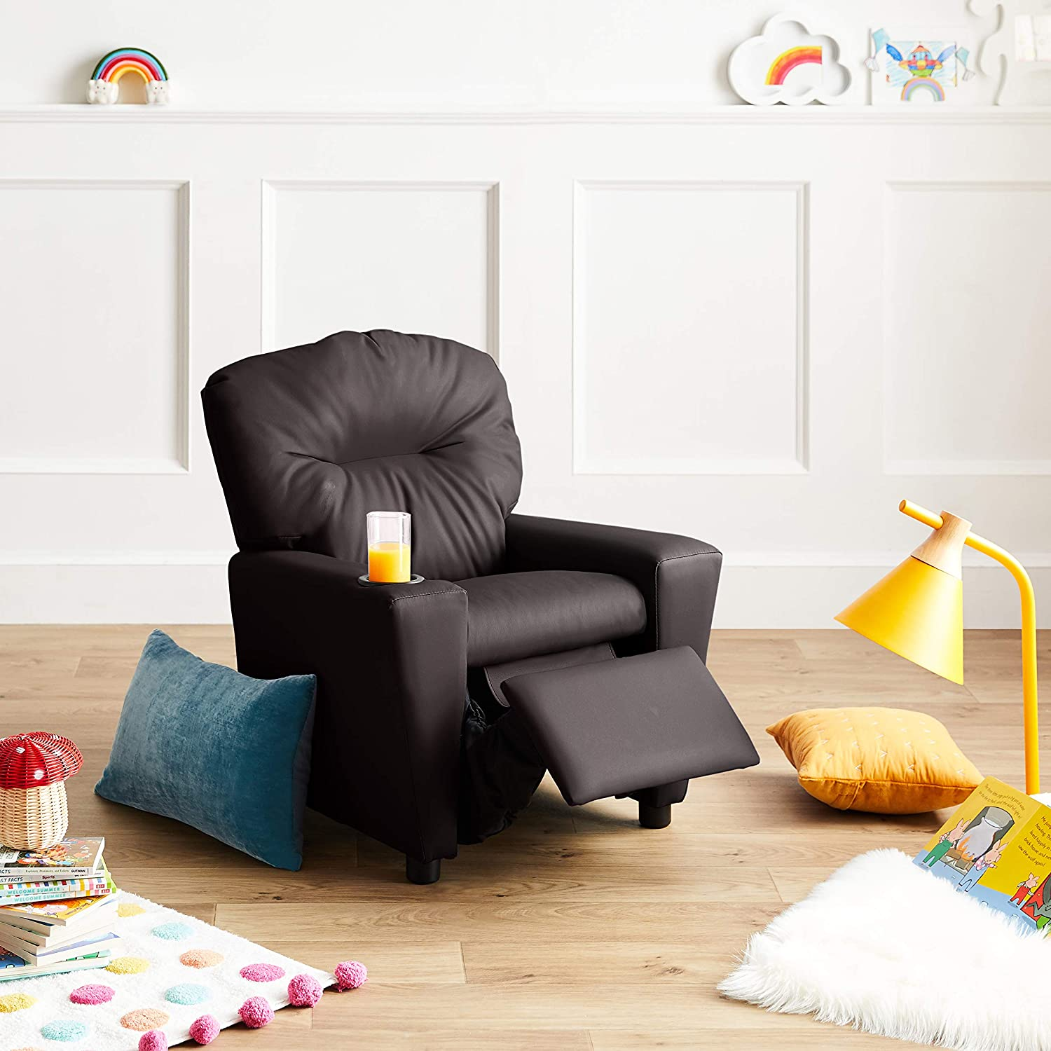 JC Home 7950-1 Contemporary Brown Leather Kids Recliner with Cup Holder