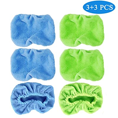 Car Care Replaced Microfiber Clothes 6pcs Washable Reusable Lint-Free Microfiber Pads for Windshield Cleaner Tool Cotton Terry Car Washing Pads-6.2X3.9inch,Blue and Green(Rectangle) (Rectangle): Automotive