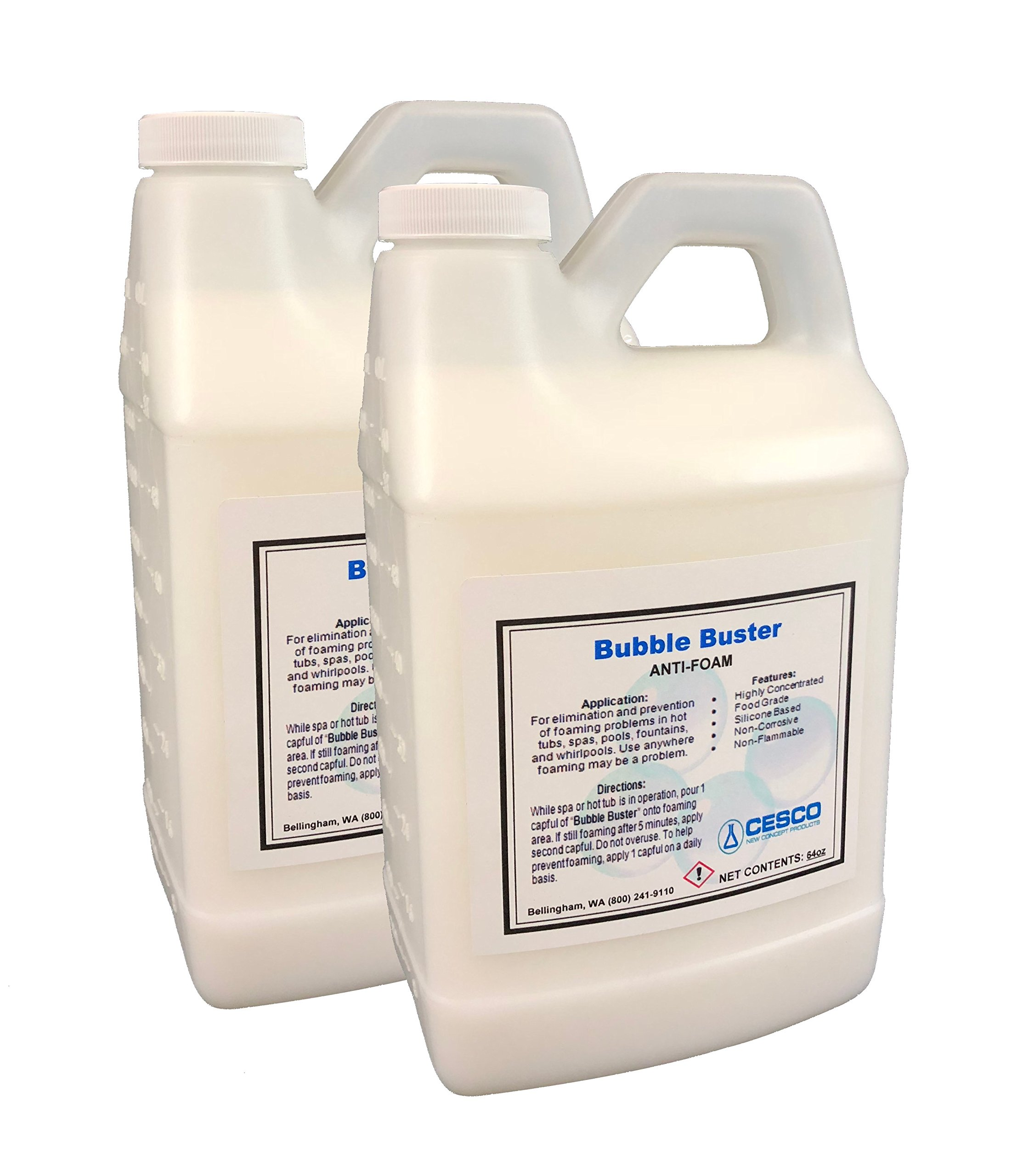 Cesco Bubble Buster Anti Foam - Concentrated Formula - 1 gallon/128oz (2 x 64oz) Defoamer for Hot Tub Spa Pools Fountains by Cesco