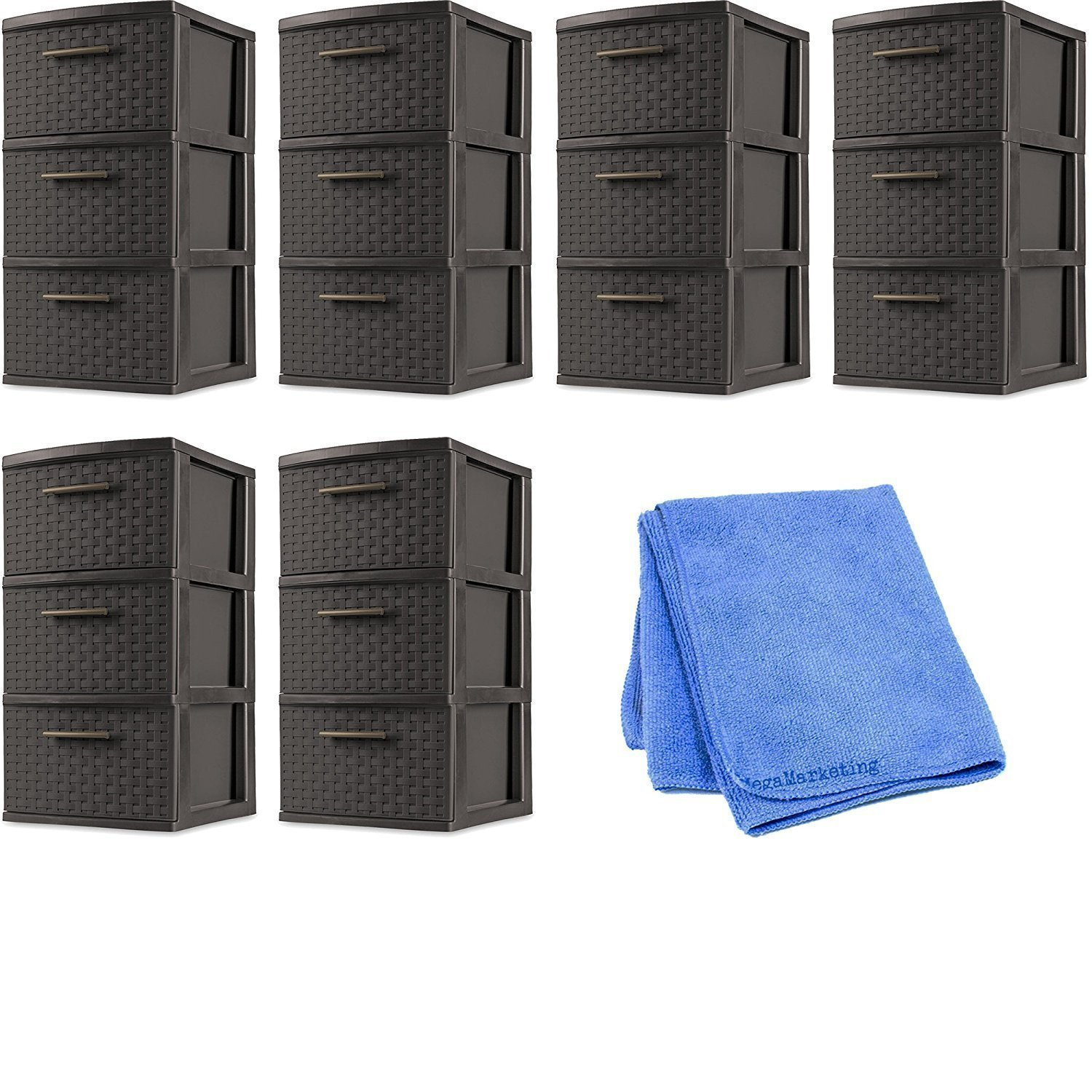 Sterilite 26306P02 Decorative 3-Drawer Storage Weave Tower, Espresso, Set of 6 with Cleaning Cloth