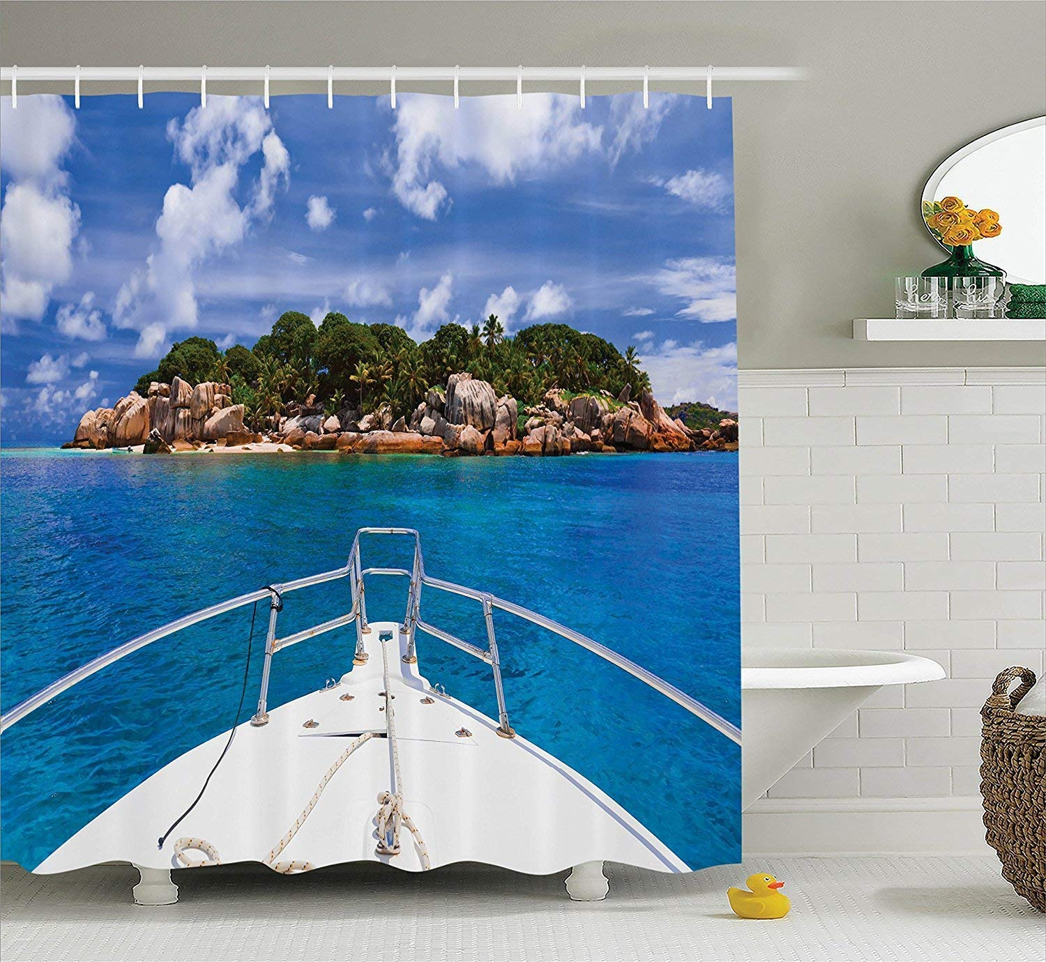 werert Sailboat Decor Shower Tropical Curtain Set, Tropical Shower Island and Boat Exotic Journey Traveling Destinations Holidays, Bathroom Accessories 72 X 72 73858a