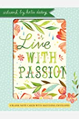 Live with Passion Katie Daisy 4x5.5 Boxed Blank Notecards 4 Each of 2 Designs (NCS9233) Paperback