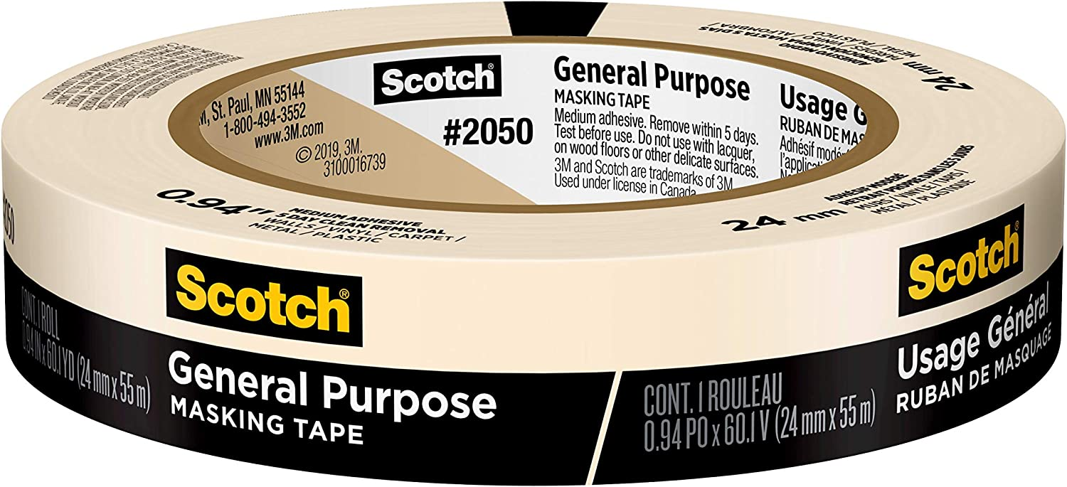 Scotch Painter's Tape 2050-1A Scotch Greener Masking Tape for Performance Painting, 2050-24A, 0.94-Inch by 60.1-Yards, 1 Roll, Width, Beige