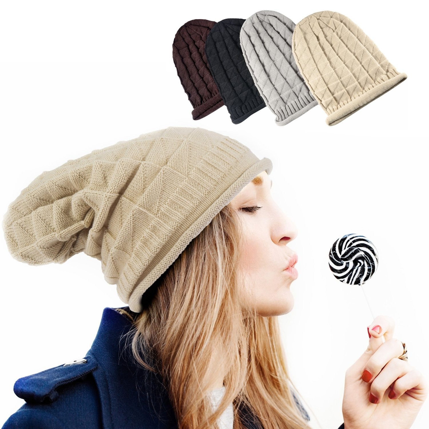 0e8df7c67c2 Zodaca Fashion Unisex Warm Thick Slouchy Oversized Knitted Beanie ...