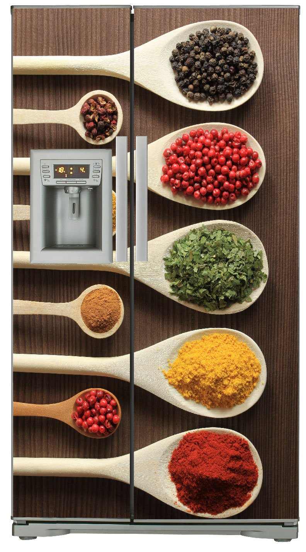 Sticker Frigo Americain Cuisine 100x180cm SAFRA0127 Effet Bois Epices