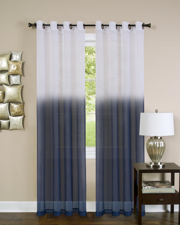 "Achim Home Furnishings Harvard Window Curtain Valance with 10 Small Grommets, 58"" x 14"", Burgundy, 54 x 84 Panel, Blue"