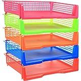 5 Tier - Plastic Desk Letter Organizer Tray, Stacking Side Load Office Desktop Document Rack Storage Paper Holder, 5 Color Set (Landscape)