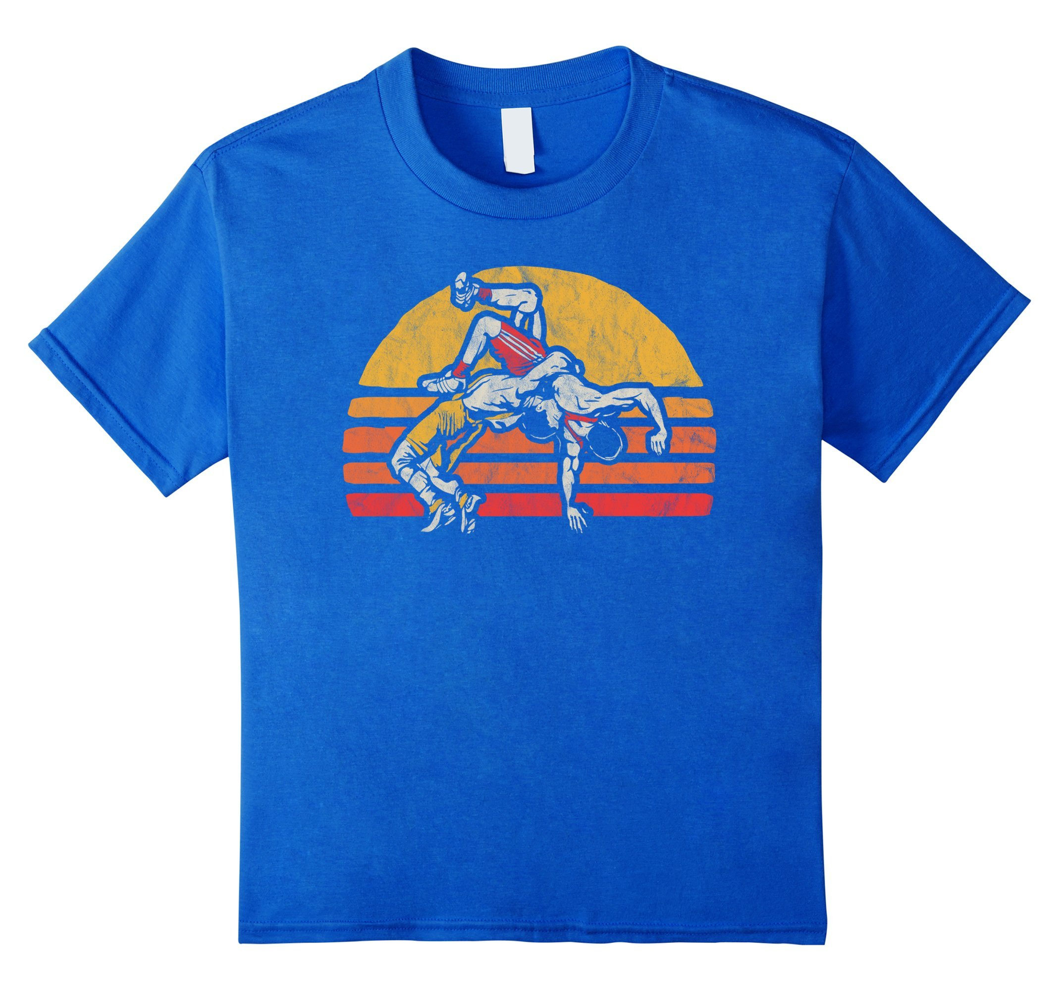 Kids Vintage Wrestling Graphic T-Shirt - Two Wrestlers and Sun 6 Royal Blue by Get To The Mat Wrestle Shirts