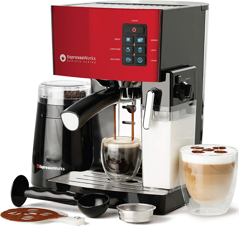 Espresso Machine, Latte & Cappuccino Maker- 19 Bar Pump, 10 pc All-In-One Espresso Maker with Milk Steamer (Incl: Coffee Bean Grinder, 2 Cappuccino & 2 Espresso Cups, Tamper, Portafilter w/ Single & Double Shot Filter Baskets), 1250W, (Red)