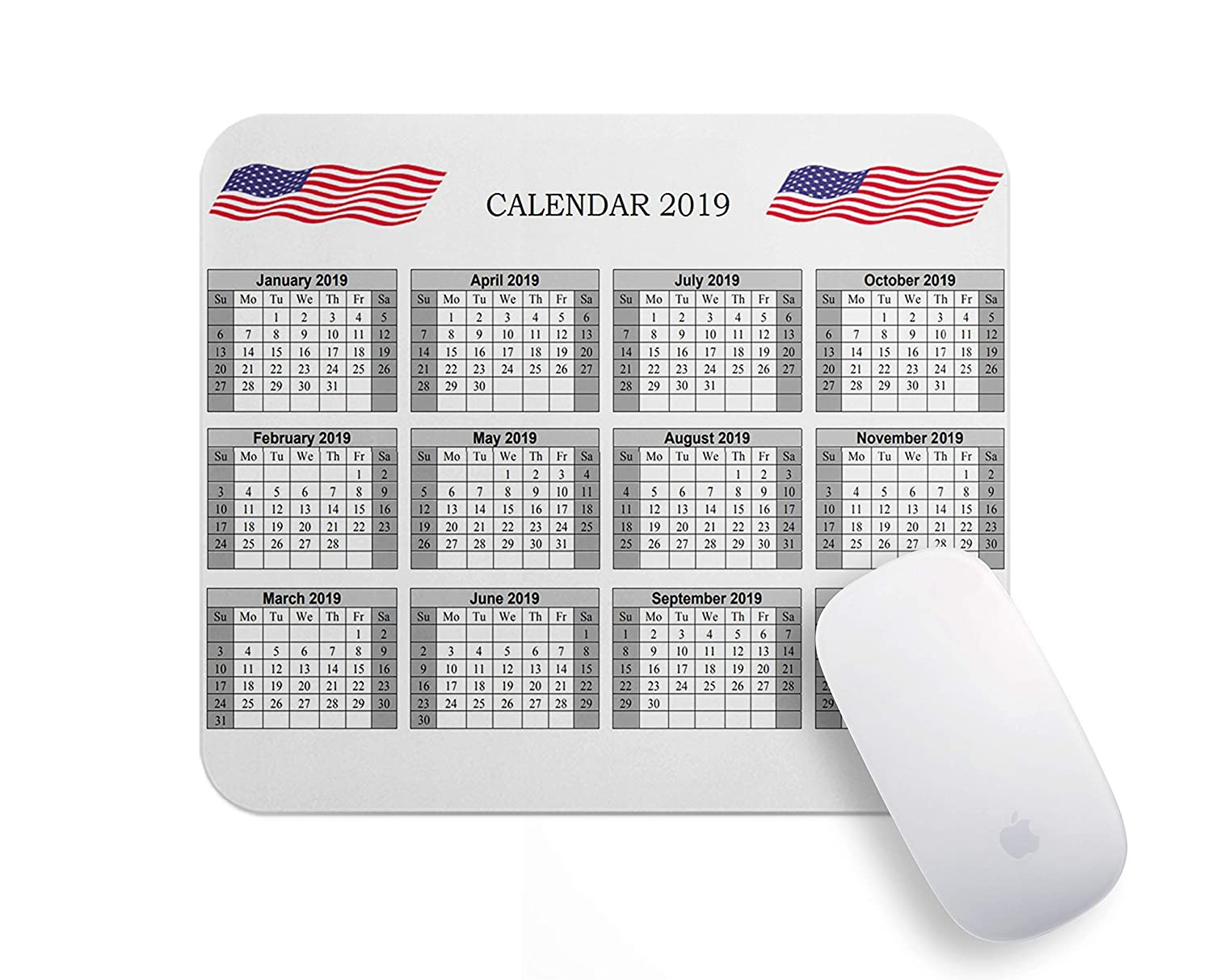 Christmas 2019 Calendar.Personalized Christmas Gifts 2019 Calendar Mouse Pad Gaming Mousepad American Flag Calendars 2019 Mousepads Rectangle Non Slip Rubber Mouse Pads