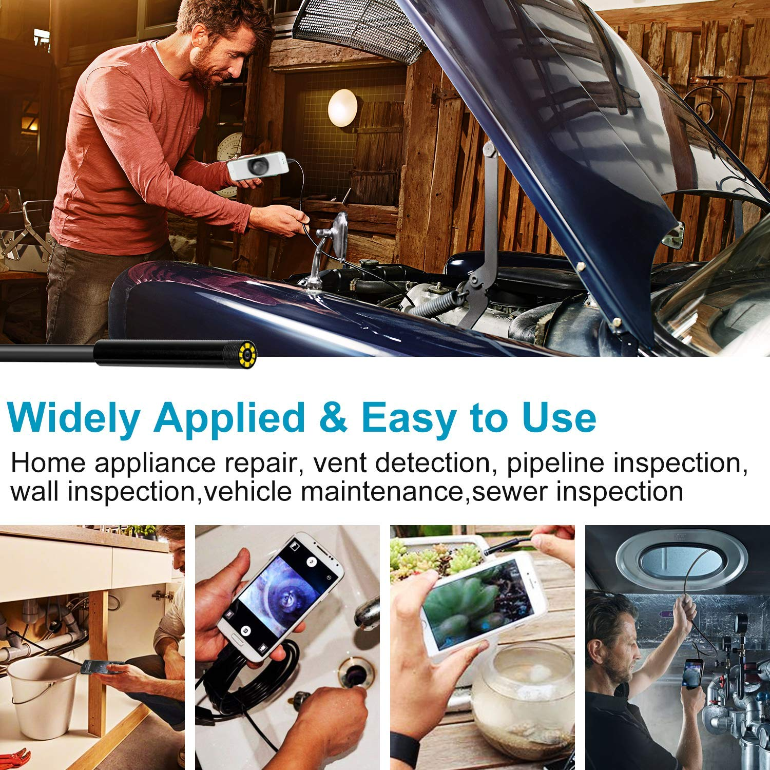 Wireless Endoscope Camera, Baqsoo 2.0 MP 1080P HD WiFi Borescope Inspection Camera IP67 Waterproof Inspection Snake Camera for Android and iOS Smartphone, iPhone, Samsung, Tablet-Black(16.4FT)