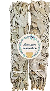 Alternative Imagination Premium California White Sage Smudge Sticks (9 Inch), 2 Pack, Packaged in USA
