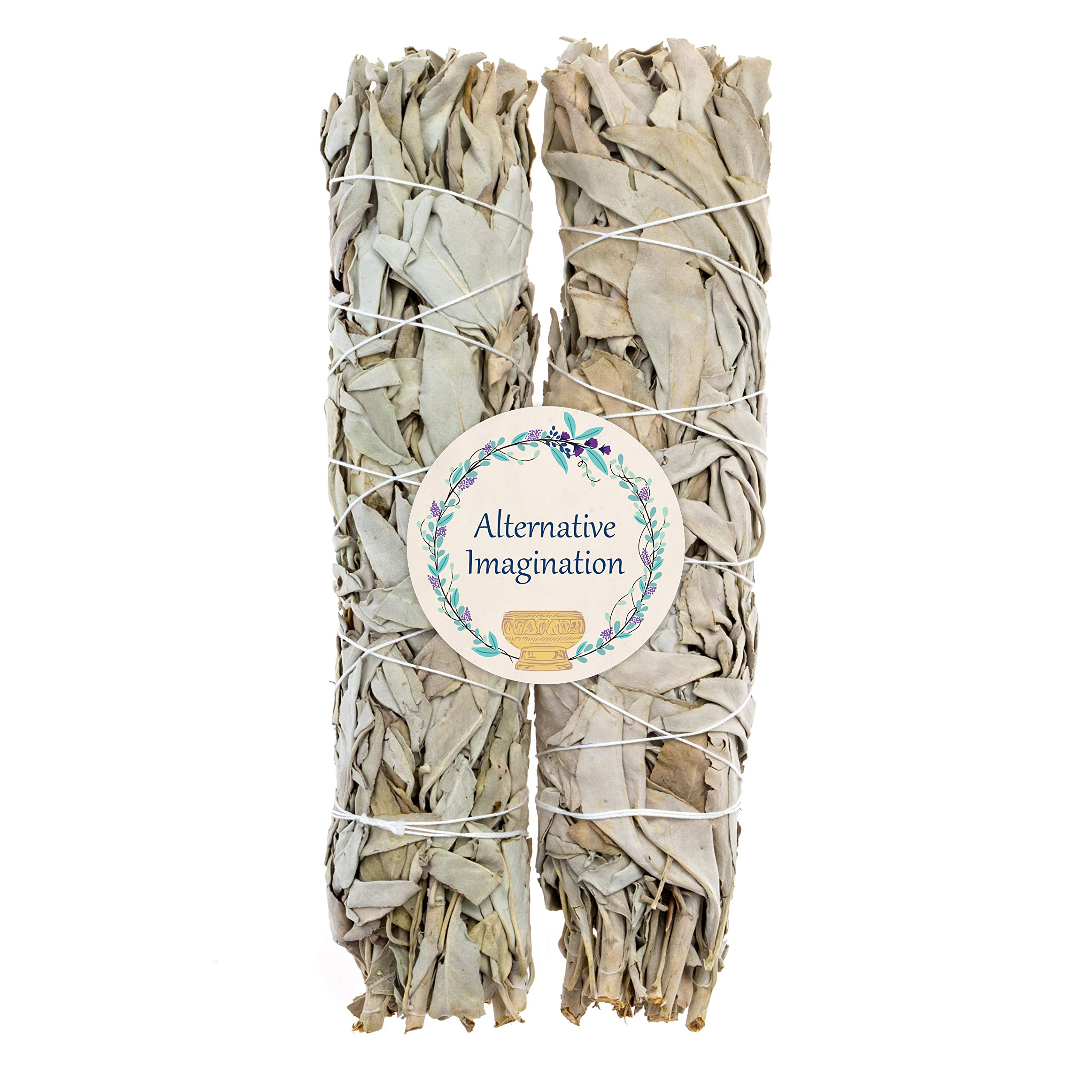 8.5''+ Large California White Sage, Each Stick Approximately 8.5 Inches Long and 1.5 Inches Wide for Smudging Rituals, Energy Clearing, Protection, Incense, Meditation, Made in USA (2 - Extra Large)