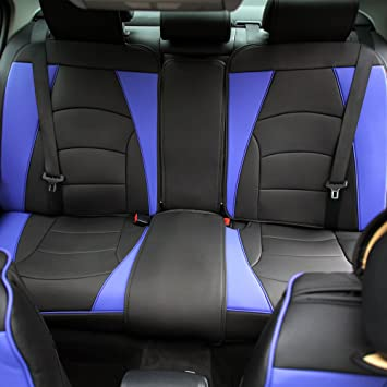 Blue and Black Airbag Compatible FH Group PU205BLUEBLACK102 PU205102 Ultra Comfort Leatherette Front Seat Cushions