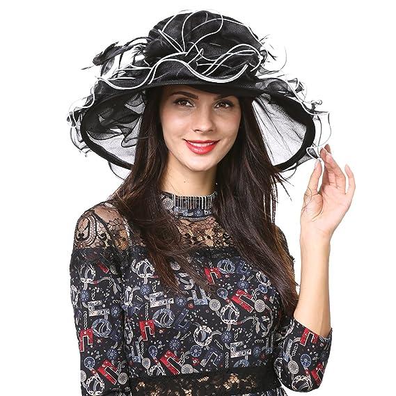 e201f2aefcb Lady Ascot Church Hat Wide Brim Floral Bridal Wedding Dress Party Hat S056 ( Black)  Amazon.co.uk  Clothing