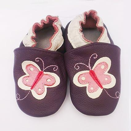 bd5b55b358274 Chaussons bébé en cuir de vache doux - Papillon (0-6 mois)  Amazon ...