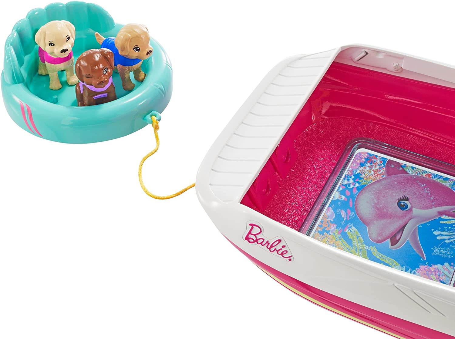 Barbie Dolphin Magic Ocean View Boat w//3 Puppies /& Accessories