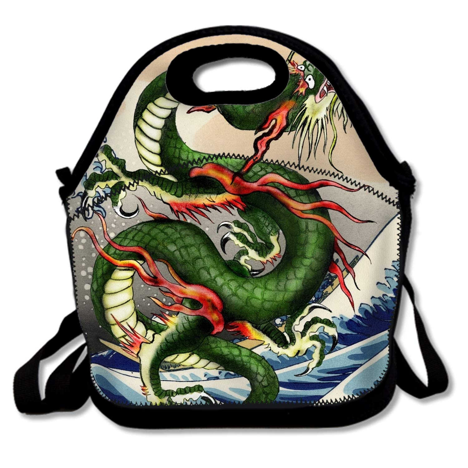 Dreamting Dragon Japanese Insulated Lunch Bag - Neoprene Lunch Bag - Large Reusable Lunch Tote Bags For Women, Teens, Girls, Kids, Baby, Adults Portable Carry