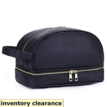 fedd87fd7452 Amazon.com   Leather Toiletry Bag For Men - Dopp Kit Travel Bags Toiletry  bag for Shaving Toilet Accessories Gifts for travelers men Ideal as Mens ...