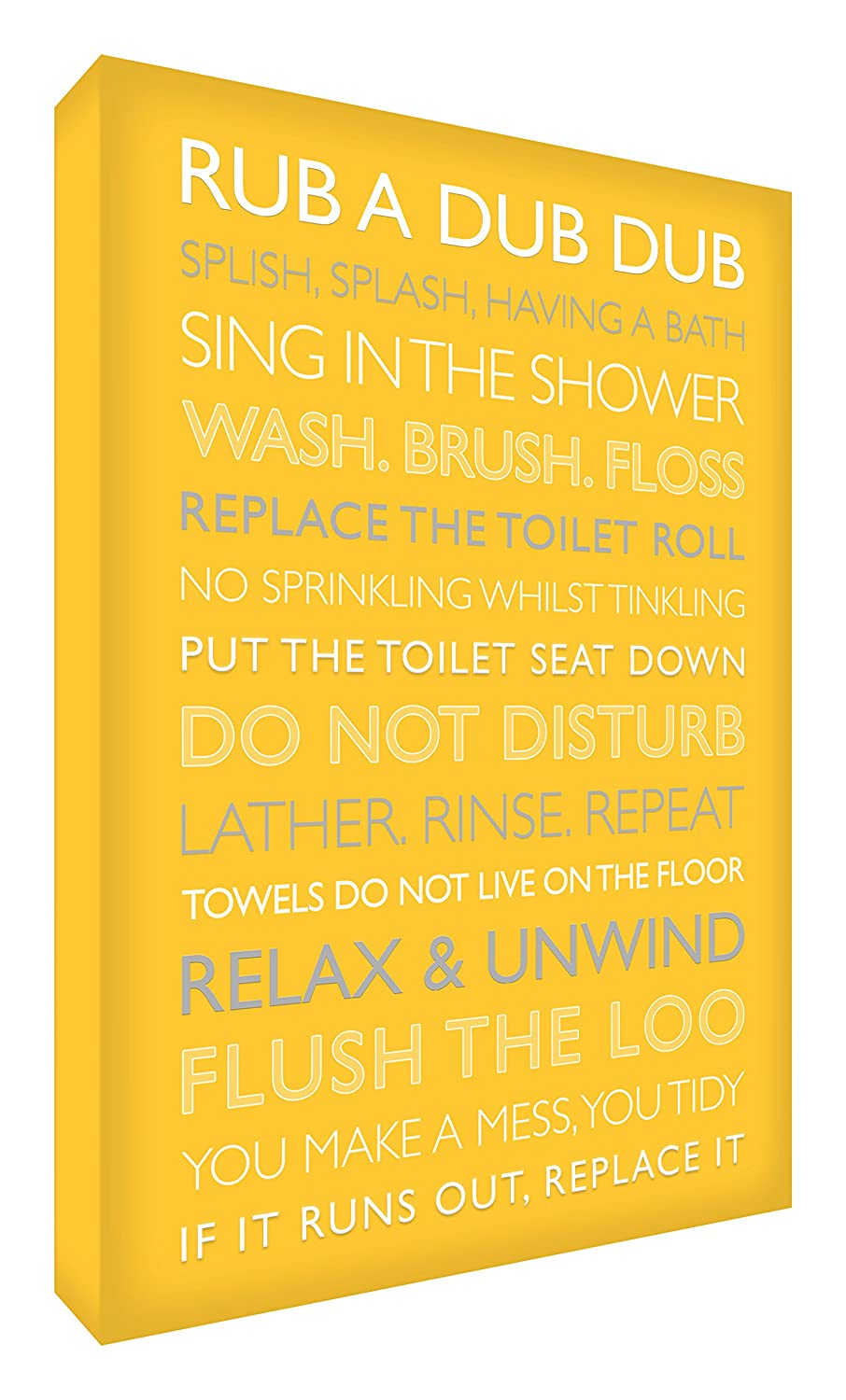 Feel Good Art Gallery Wrapped Box Canvas with Solid Front Panel (40 x 30 x 4 cm, Medium, Yellow, Bathroom Rules) BATHRULES1216-06