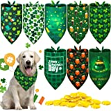 Patricks Day Dog Bandana Reversible Triangle Bibs Dog Scarf Neckerchief Lucky Shamrock Bandanna for Pets Dogs Cats Animals 6 Pieces St 6 Styles