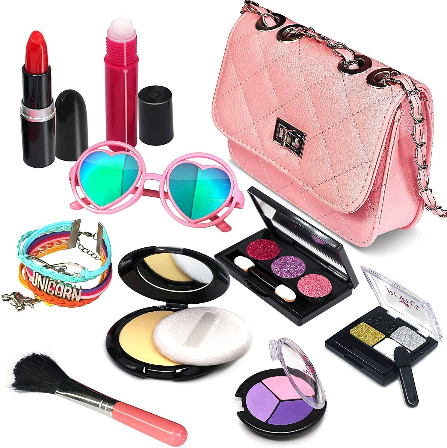 Amazon Com Pretend Makeup Girls Cosmetic Toys Fake Make Up Kit Pretend Make Up Set For Kids Girl Children Princess Play Makeup Game Christmas Birthday Gifts Cosmetic Toys For 2 3 4