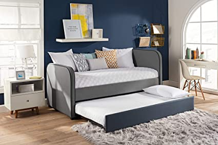 sports shoes 30958 9ccf8 DHP 4099419 Kids Upholstered Daybed Frame with Jesse Bed with Trundle,  Twin, Grey Linen
