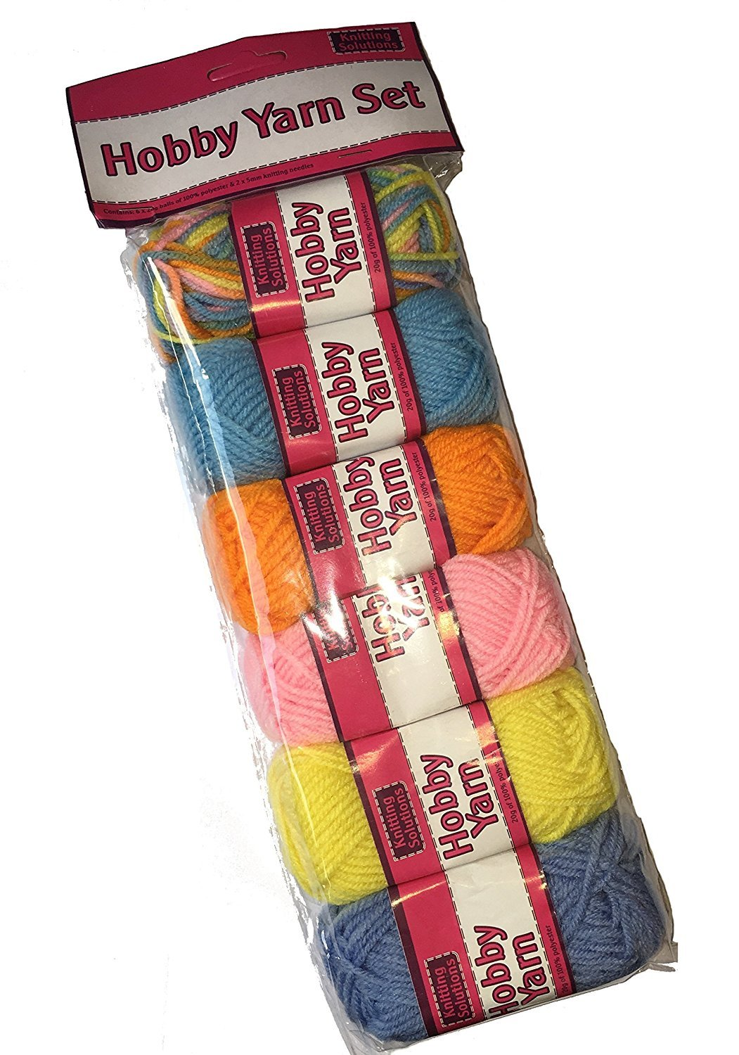 Childrens Craft My First Knitting Yarn Set Coloured Wool x 6 balls & Needles Woolbro