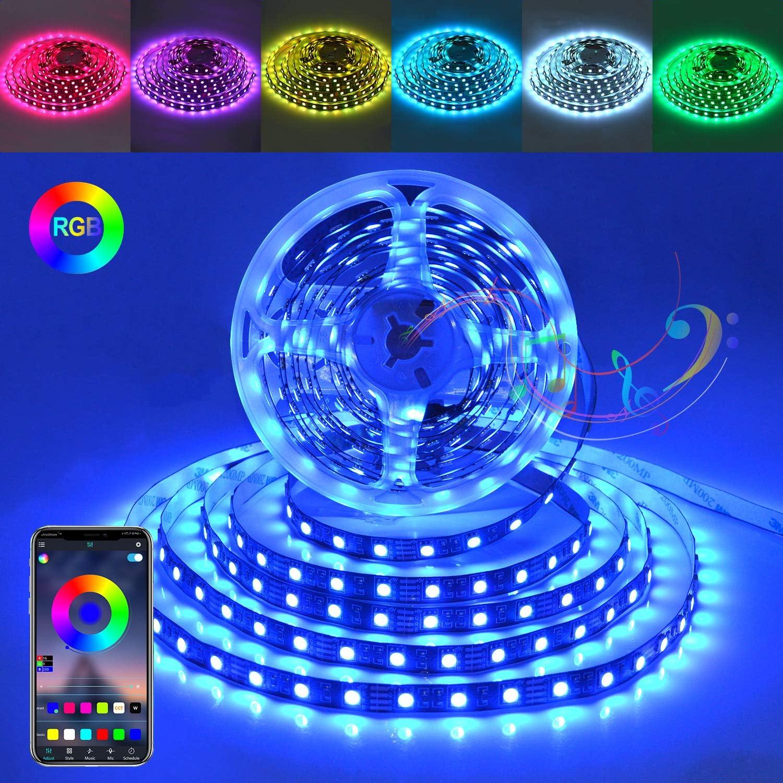 IELECMG Led Strip Lights Music Led Lights Bluetooth 16.4ft RGB LED Strip Flexible Color Changing USB Powered Strip Lights No-Waterproof Mood Lighting for Bedroom TV Backlight Home Kitchen