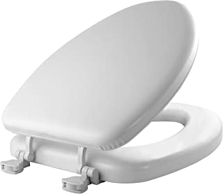 product image for MAYFAIR 113EC 000 Soft Toilet Seat Easily Removes, ELONGATED, Padded with Wood Core, White