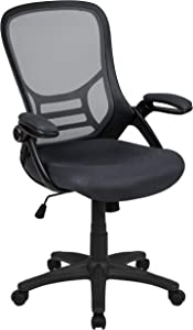 Flash Furniture High Back Dark Gray Mesh Ergonomic Swivel Office Chair with Black Frame and Flip-up Arms